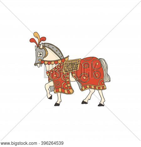 Knight Horse Covered With A Colorful Blanket And Taking Part In A Tournament. Vector Illustration Of