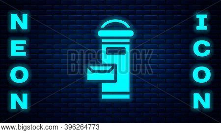 Glowing Neon Traditional London Mail Box Icon Isolated On Brick Wall Background. England Mailbox Ico