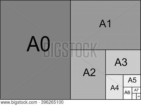 Paper Sizes Vector. Paper Sheet Formats. Sizes A0 To A8 Isolated Illustration.