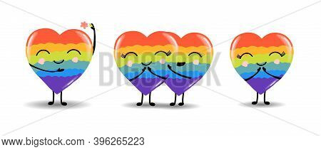 Gay Pride. Lgbt Concept. Cartoon Vector Colorful Illustration. Valentines Day. Rainbow Heart. Lesbia
