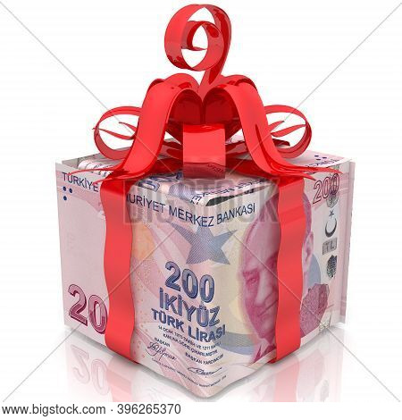 Cash Gift In Turkish Lira. The Box Made From Bills Of 200 Turkish Lira Tied With A Red Ribbon And A