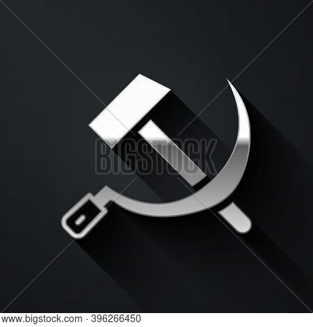 Silver Hammer And Sickle Ussr Icon Isolated On Black Background. Symbol Soviet Union. Long Shadow St