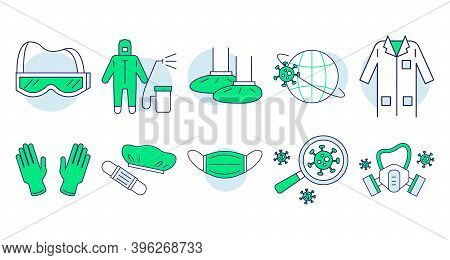Protective Clothing Doodle Set. Collection Of Medical Ppe Icons. Equipment For Coronavirus Protectio