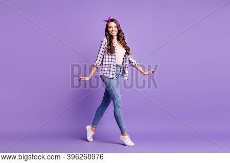 Full Length Profile Photo Of Lady Go Tiptoes Wear Plaid Shirt Vintage Headband Jeans Footwear Isolat