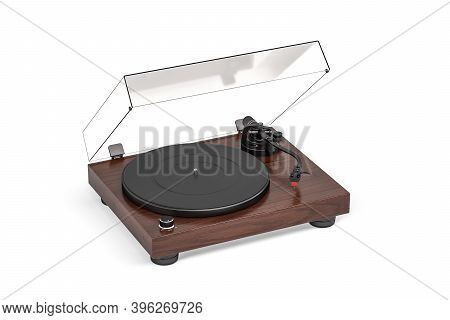Record Player Isolated On White Background - 3d Rendering