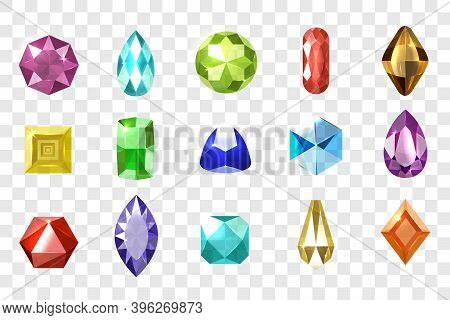 Realistic Gemstones Print Set. Collection Of Graphic Colorful Crystal Precious Luxury Gems Diamonds