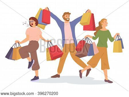 Group Of People Rejoicing With Shopping Bags In Their Hands. Man And Women Are Picking Up Shopping B