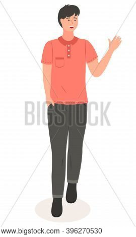 Illustration Of A Young Handsome Smiling Man In Casual Modern Clothes Like Shirt And Pants Waving Wi