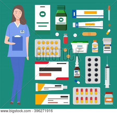 Doctor Prescription And Pills, Girl Medical Worker And Medicines. Medication Pharmaceutic Concept. M