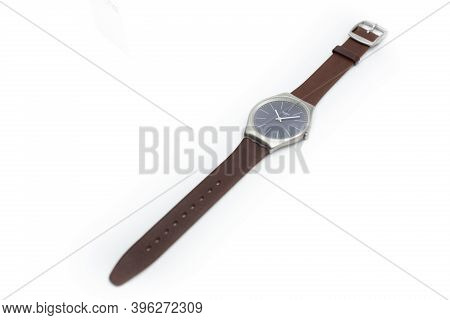 Rome, Italy 07.10.2020 - Swatch Simple Classic Design Swiss Made Mechanical Watch Isolated On White