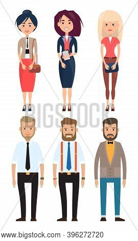 Stylish Businessmen. Set Of Man And Wooman Characters. Bearded Man In A Shirt With A Tie. Fashionabl