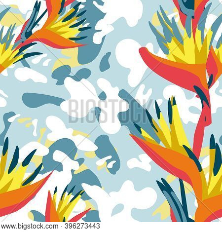 Exotic Heliconia Flowers And Leaves Pattern. Tropical Jungle Forest Garden Plants Repeating Print Fo
