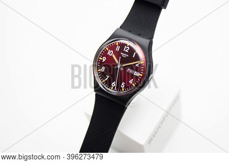 Rome, Italy 07.10.2020 - Swatch Simple Fashion Swiss Made Quartz Watch Isolated On White Close Up. C