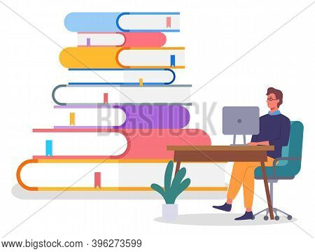 Online Education Concept Banner With Character Young Man In Gldsses Siting At A Table With Computer