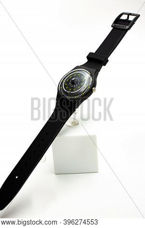 Geneve, Switzerland 07.10.2020 - Swatch Childrens Swiss Made Plastic Watch On Stand, Youth Hipster S