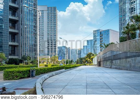 Plaza And Modern Skyscrapers, Xiamen Cbd, Fujian, China.