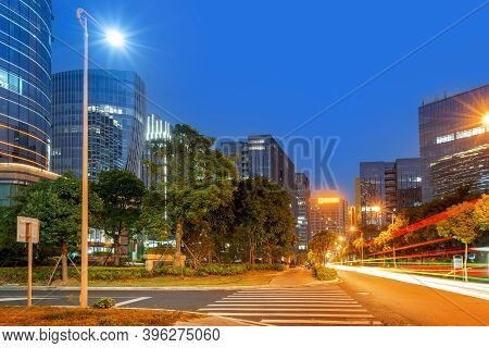 Night View Of The Financial District, Xiamen, Fujian, China