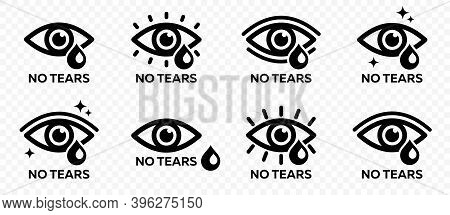 Flat Linear Design. No Tears Icon. Tear Eye Icon. Eye Icon With Sparkling Stars. Pure Radiant Look.