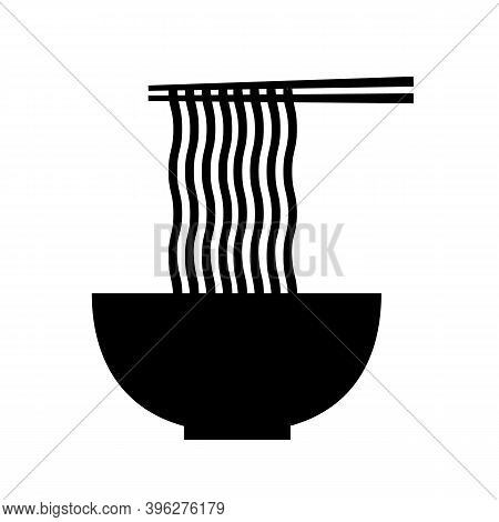 Hot Noodle Logo. Flat Style. Noodles And Chopsticks Symbol. Bowl Of Noodles With Chopsticks On White