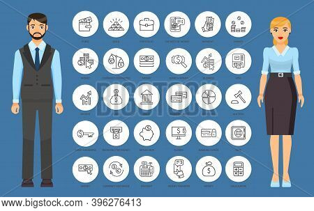 Web Icons In Thin Outline Style. Web Signs And Symbols For Website Or Mobile App. Money, Online Tran
