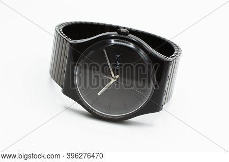 Rome, Italy 07.10.2020 - Swatch Fashion Swiss Made Quartz Watch Isolated On White Background. Stylis
