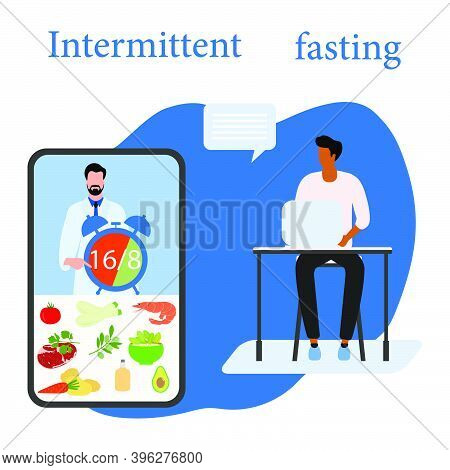Vector Illustration Nutrition Consultant Online Explains Intermittent Fasting Method 16/8, Time-rest