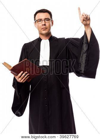 one caucasian lawyer man pleading in studio isolated on white background poster