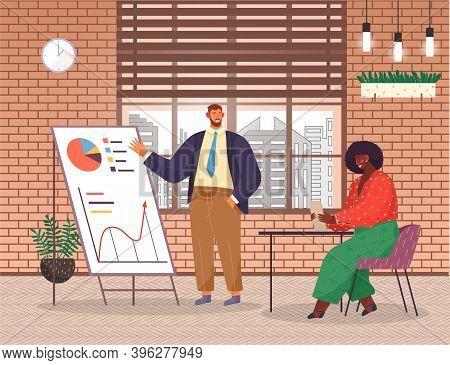 Presentation Of Business Statistics, Strategy, Businessman Analysing Graphics, Charts, Diagram At Fl