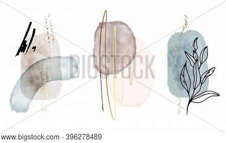 Abstract Watercolor Shapes, Vintage Art Background With Watercolour Stain Elements Vector. Painting