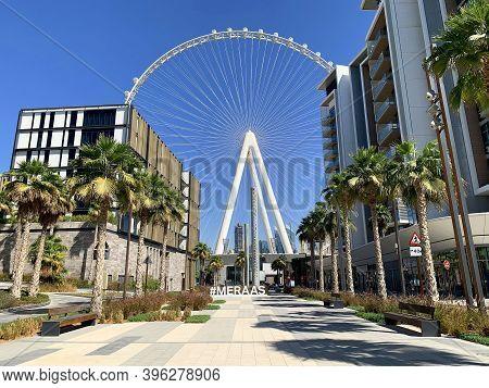Dubai,uae - October 16, 2020:  Beautiful View Of Dubai Eye Or Al Ain Huge Wheel On Bluewaters Island