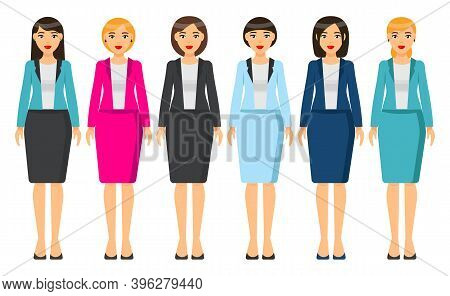 Cartoon Characters. Woman Brunette With Short Haircut Wearing Different Clothes. Girl In Business Lo