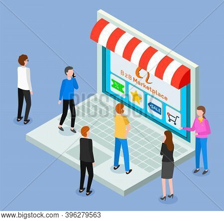 Online Shop, Isometric 3d Laptop. Customers Women And Men Choosing Products At Website Stand At Keyb