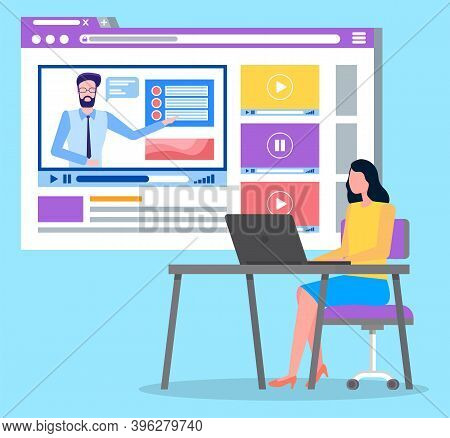 Videoplayer In Social Network, Woman Sitting At Table Analysing Video At Website Using Laptop, Watch