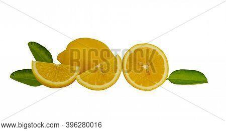 Fresh Yellow Ripe Lemon Round Fruit, Half Sliced Fruits And Green Leaf Isolated On White Background,