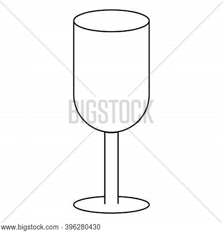 Wineglass. Sketch. Glass Container For An Alcoholic Drink. Vector Icon. Outline On An Isolated White