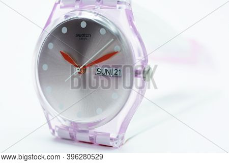 New York, Ny, Usa 07.10.2020 - Swatch Swiss Made Quartz Watch Isolated On White Background Close Up.