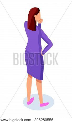 Businesswoman Thinking, Standing Back, Thoughtful Woman Wearing Office Jacket And Skirt, Cartoon Cha