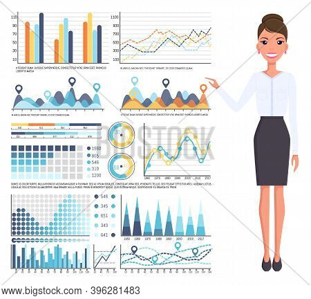 Businesswoman Wearing Office Dresscode, Skirt And Blouse Smiling Standing Near Graphs, Charts, Graph