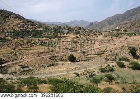 Tigray, Ethiopia - 14 August 2018. : Long Dirt Road In A Small Town In Tigray Region Of Ethiopia