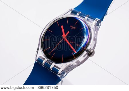 Paris, France 07.10.2020 - Swatch Swiss Made Quartz Watch Isolated On White Background. Colored Plas
