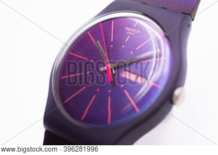 Paris, France 07.10.2020 - Swatch Swiss Made Quartz Watch Isolated On White Background Close Up. Col