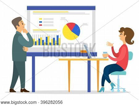 Businessman And Woman Looking At Graphic And Diagram On Board. Woman Presenting Financial Plan To Bu
