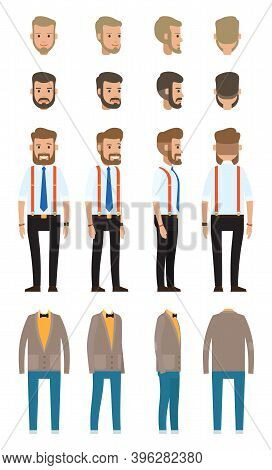 Businessman Dresscode, Collection Of Vector Cartoon Character S Head, Faces, Different Style Of Clot