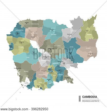 Cambodia Higt Detailed Map With Subdivisions. Administrative Map Of Cambodia With Districts And Citi