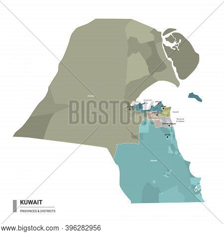 Kuwait Higt Detailed Map With Subdivisions. Administrative Map Of Kuwait With Districts And Cities N