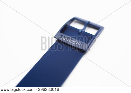 Rome, Italy 07.10.2020 - Swatch Logo On Blue Silicone Strap Clasp, Wrist Strap Buckle Of Swiss Made