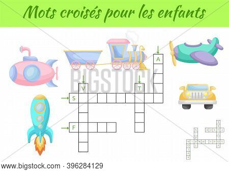Mots Croisés Pour Les Enfants - Crossword For Kids. Crossword Game With Pictures. Kids Activity Work