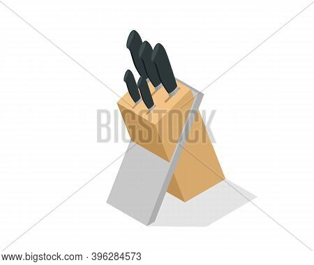 Isometric Knives In The Wooden Block Isolated On White Background. Kitchen Knife Set With Block, Sta