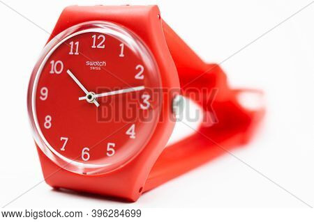 Rome, Italy 07.10.2020 - Swatch Fashion Swiss Made Quartz Watch Isolated On White Selected Focus Clo