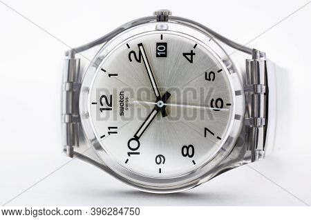 London, Gb 07.10.2020 - Swatch Classic Design Swiss Made Mechanical Watch Close Up. Transparent Plas